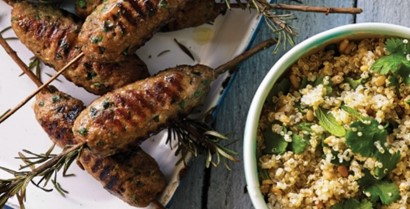Paleo Moroccan Lamb Skewers with Quinoa salad
