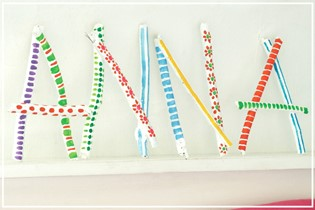 Fun painted twig letters