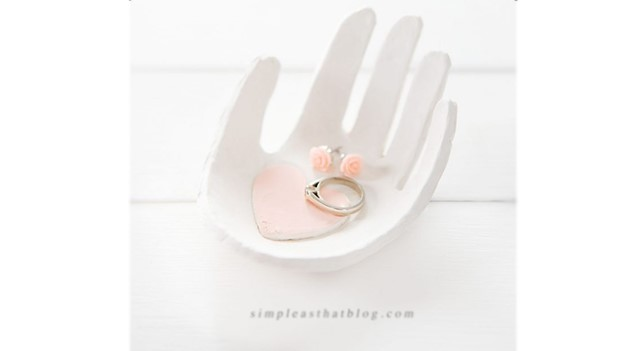 'Heart in hand' clay jewellery dish